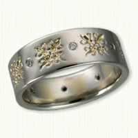 Custom African Wedding Bands in 14kt white gold