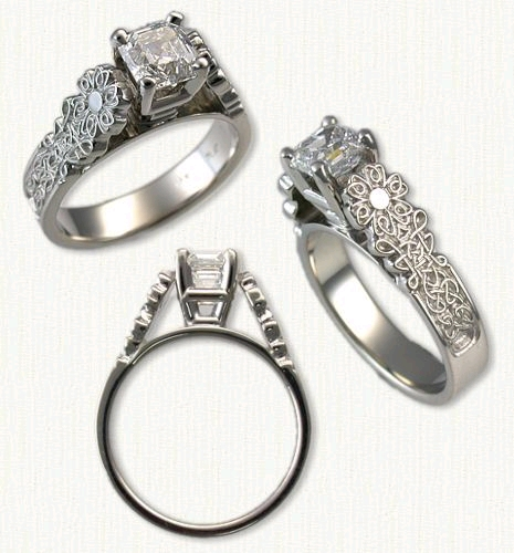 celtic flower style engagement rings all gold colors