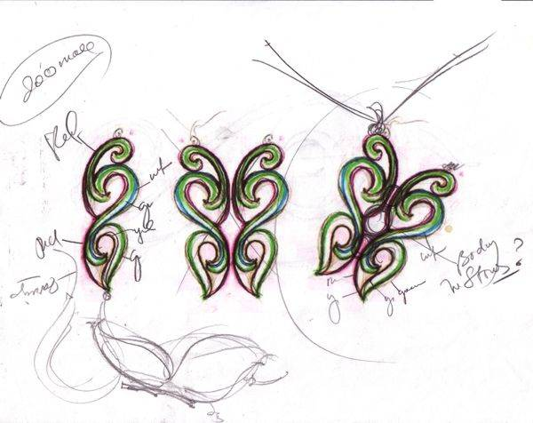 Butterfly Pendant sketch