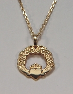 Claddagh Pendant with Continuous Heart Knot Pattern