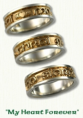 Custom Gaelic & Claddagh Wedding Band. 14Kt yellow center/white rails