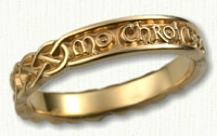 14KY Sculpted Gaelic Inscribed Wedding Band -'My Heart Forever'
