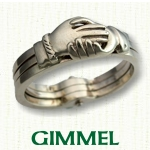 Celtic Gimmel Rings - unique 3 piece rings
