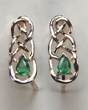 Custom Celtic Earrings with .30ct pear shaped emeralds