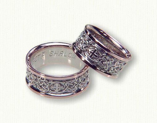 celtic kenmare knot and elsinore cross wedding band 14kt white center14kt rose rails - Cross Wedding Rings