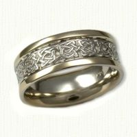 Celtic Kenmare Knot Wedding Band-Shown 14kt White Center with 14kt Yellow Rails