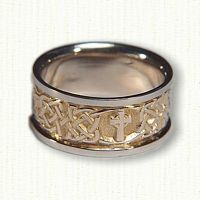 Kenmare Knot with Single Cross - 14kt Yellow Center/14kt White Rails