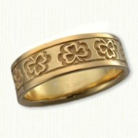 14Kt yellow Celtic Shamrock Band 7mm width