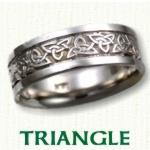 Triangle Knot Celtic Wedding Rings