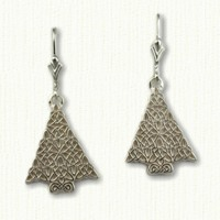 Triangle Heart Christmas Tree Earrings