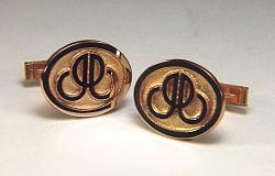 14kt yellow gold oval custom initial cuff links