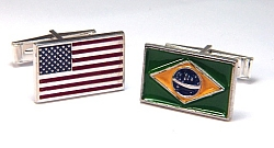 Custom enameled flag cuff links