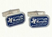 14kt enameled custom burgee cuff links