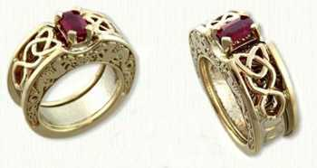 Dragon #18 - 14kt yellow gold Custom Reverse Cradle with Dragon Knot and pierced Dara Knot set with an emerald ruby.
