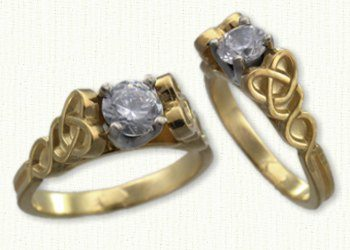 14kt Yellow Dara Knot Engagement Ring Set with a Round Diamond