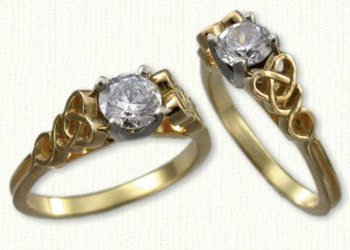 14kt Yellow Pierced Dara Knot Engagement Ring Set with a Round Diamond