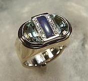 14KY aquamarine, lapis and diamond ring