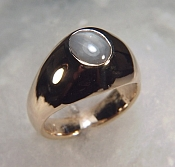 18KY gents genuine star sapphire ring