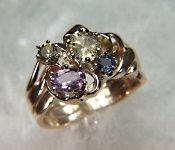 14KY Multi-color sapphire ring in hand made mounting