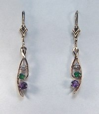 Amethyst Emerald and Diamond Drop Earrings