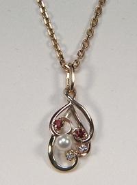 Pearl,Garnet & Diamond Pendant