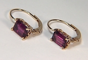 Emerald Cut Rhodolite Garnet Lever Back Earrings in 14KY