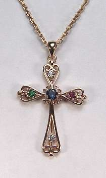 Family Cross Pendant set with gemstones