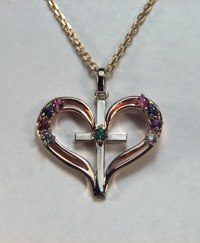 Family Heart and Cross Pendant set with gemstones