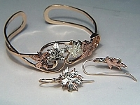 Leaf Cuff bracelet and earrings