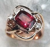 Cushion cut Rhodolite garnet ring