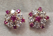 Custom Ruby & Diamond Earrings with 5 dia & 6 rubies each