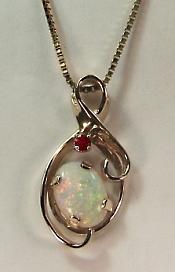 Oval Opal & Ruby Pendant
