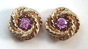 Round pink sapphire earrings in 14KY jackets