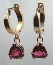Trillion pink tourmaline earrings on 14kt round eurowires