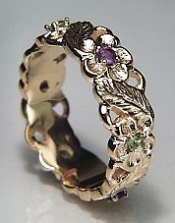 Sculpted Floral Band with gemstones