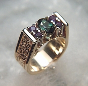 14KY Kathryn ring set with teal tourmaline and amethyst