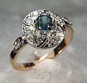 Hand made antique style diamond and sapphire ring
