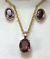 Oval Rhodolite earrings and pendant