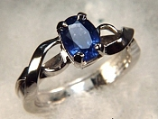 Platinum Rings with 1.18ct oval blue sapphire