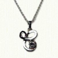 14kt white gold pendant, initial 'C' with diamond