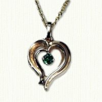 Stylized Double Heart Pendant with Stone