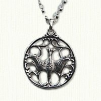 Dove in Round frame pendant