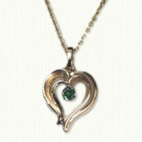Stylized Double Heart Pendant with synthetic emerald