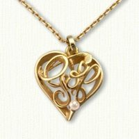 I Love Golf Heart Pendant