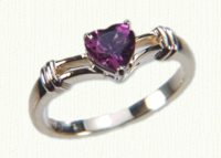 Promise Rings #70298 with 6x6 rhodolite garnet heart