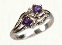 14KY Promise Ring #7480 with 4x4 amethyst hearts