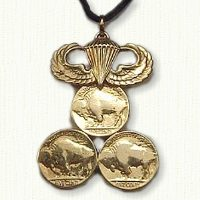 Triple Nickel Pendant with Wings