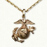 14KY Marine Corps Pendant