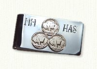Sterling silver nickel money clip with 14KY nickels