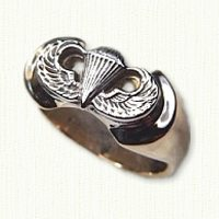 14kt Two tone Airborne Wings Signet Ring